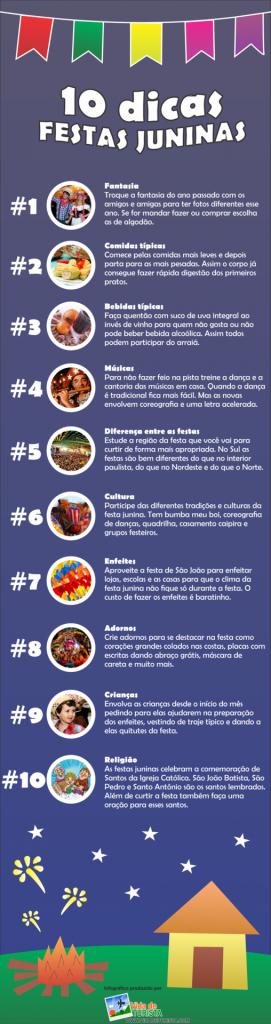 Infográfico 10 dicas festa junina